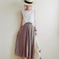 夏カジュアルも楽しめる♪おすすめ【ロング丈プリーツスカート】の夏コーデ集