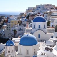 """青と白の世界。ギリシャ""""サントリーニ島""""一度は行ってみたい夢の島。"""