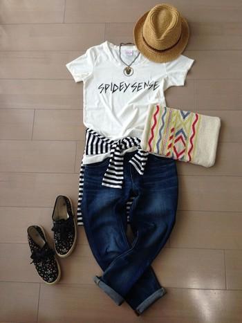 ロゴシャツ*GU ボーダーT、デニムパンツ*無印  これからの時期、Tシャツは何枚も欲しい。  たまにはロゴTも着たい!
