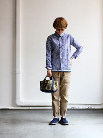 大人気、定番のギンガムチェックシャツです。シッカリしたハリ感をのこしながら、独特のムラ感と、味のある表情が素敵です。