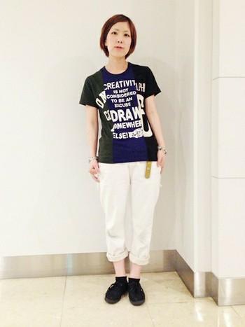 トリオコラージュのTシャツ♪ 白いパンツとあわせてカジュアルに! キャンプなどにピッタリです。