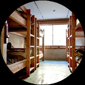■ドミトリー 男女混合と女性専用のお部屋のほかに、ツインルーム、ダブルルームもあります。