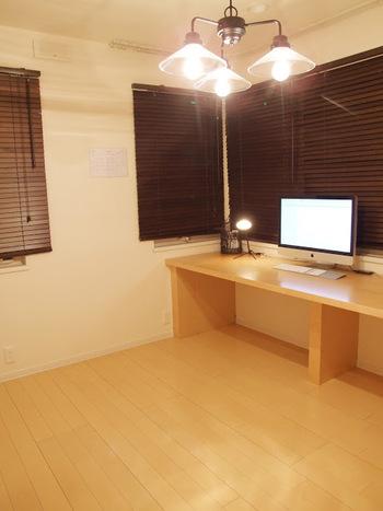 仕事部屋の机の上には、iMacとデスクライトと、少しの道具だけ。