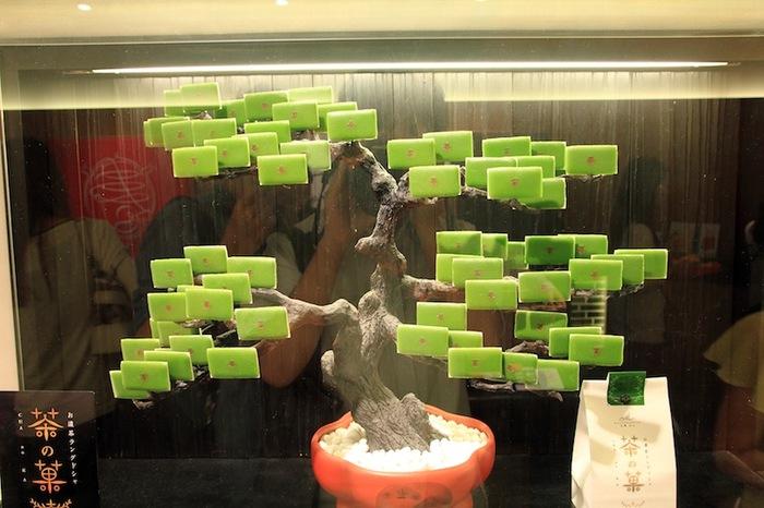 茶の菓で作られたお菓子の松の木!どこで見られるか、探してみるのも楽しいかも…!?