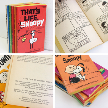 50年代から70年代のスヌーピーヴィンテージのコミック本。 レトロなスヌーピーの表情がとっても可愛らしく、 見ていると思わず微笑んでしまいます。  お部屋のディスプレイとして、そっと積み重ねて置いても素敵です。
