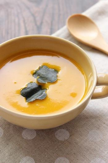 かぼちゃの甘味と白味噌の甘味が溶け合ってやさしい味わいに…。野菜もたっぷり摂れるメニューです。