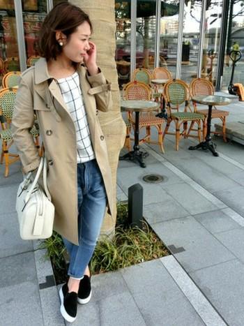 トレンチコートに、ホワイトのチェックブラウスとバッグを取り入れ、スリッポンで合わせました。お仕事にもおすすめスタイルです。