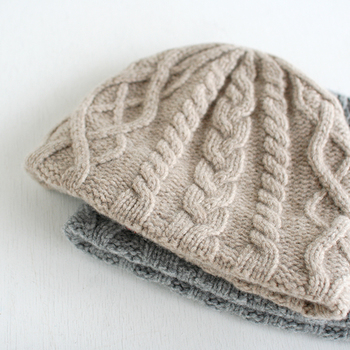 mature knit cap aran  グレー/ベージュ