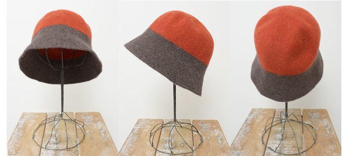 2トーンウールベルハット  2色の配色がとっても洒落なあったかな帽子!