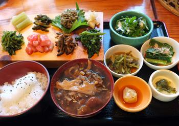 「冬の山菜盛り合わせ定食」 こちらも鮮やかな様々な山菜の惣菜の定食です。 ふき味噌や山菜が綺麗に盛り付けられています。
