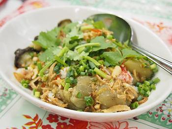 焼き茄子のゴイは、甘めのタレを絡めたベトナム風の焼きなす。