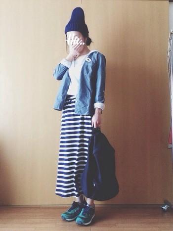 しましまロングスカートは足長効果も♡ 白×ネイビー×緑の絶妙な色合いも素敵です!
