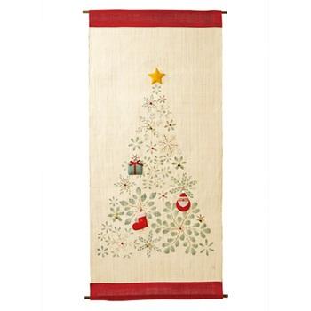 手織り麻100%のタペストリーには「サンタクロース」・「ブーツ」・「プレゼント」の、取り外し可能な三つのオーナメントがついています。 小さなベルは実際に音を奏でることもできます。ただ飾るだけでなく、クリスマスに向けてのワクワク感をより高めることのできるアイテム、大きなツリーをおけないお家にもぜひおススメです。