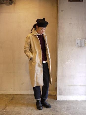 シンプルYAECAデニムコーデ♪ 少し寒いなあ~と思ったら、こちらのロングコートを羽織ってはいかが? YAECAのロングコートはとても暖かそうです^^