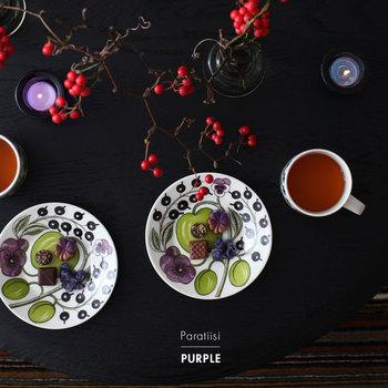パープルの濃淡とブラック、そして瑞々しいアップルグリーンが大人っぽい印象の「PURPLE」。