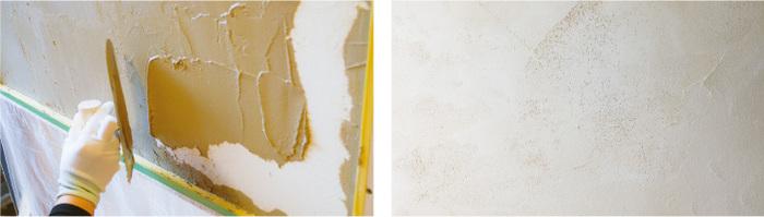 ヨーロッパの塗り壁を連想させる硬くて柔らかい、さらっとした手触りに仕上がります。  CABEREAは初心者の方でも簡単に塗れるよう、するーっと気持ちのよい塗り心地が再現されています。 コテやヘラを使ったりして、塗り方にオリジナルを出したりもできますよ。