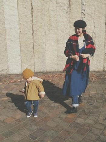 さりげなく羽織って、子供とお散歩♪