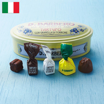 バルベロ ミックス  ¥1,750(+8% ¥1,888)  イタリアの老舗トロンチーニメーカー「バルベロ」。  イタリアンリキュール、レモンチェッロが入ったレモンチェッロチョコレートと、トリュフ白チョコレート、トリュフ黒チョコレートのアソートです。
