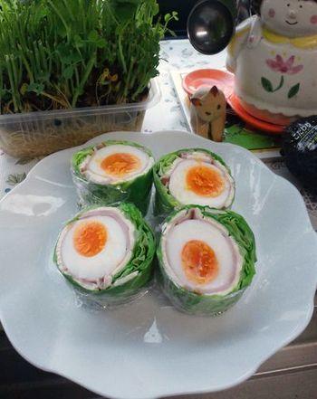 やわらかい春キャベツをロールキャベツのようにまきつけて鮮やかな巻サラダに。 お弁当にもぴったり。