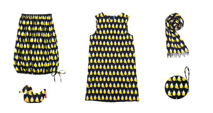 上記のテキスタイルからできあがったのが、かわいいキツネの姿もみえる「きつねの尻尾」シリーズのアイテム。ブラックとイエローのコントラストが若々しく、バルーンスカートもチャーミング!