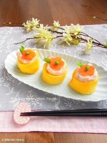 こちらは、ちょっと変化球で「海老と玉子の茶巾風てまり寿司」。見た目も華やかなので、ホームパーティーなどのおもてなしのテーブルにもぴったり!