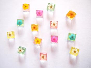 ちいさな粒のキャンディーみたいなピアス。透明感あるキューブの中にひらりと可憐な押し花が。  真っ白コーデに合わせたらすごくピュアな印象。