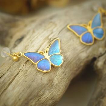 昆虫採集した美しい蝶をそのままピアスにしたみたい。それもそのはず、そのままピアスにしたんです。  モルフォ蝶の羽は着色ではなく、天然の色素が反射したもの。アクセサリーに加工するのは高度な技術が必要だそうです。