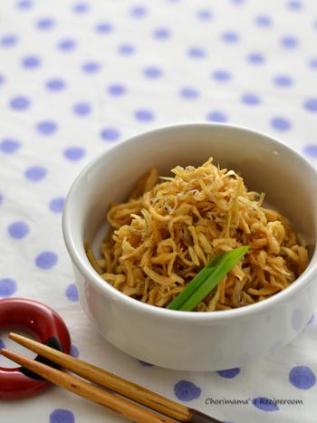 切干大根にカリカリに炒めたしらすを加えて旨みとボリュームをUPした一品。お弁当にもおすすめです。