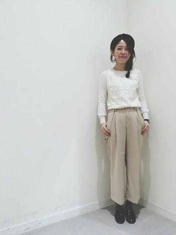女の子らしい着こなしまで、変幻自在の万能パンツです。