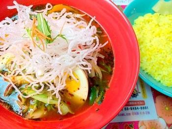 札幌で生まれたスープカレーのお店マジックスパイスの下北沢店です。辛さはお好みで選べ、一番弱い辛さは子どもでも食べられるマイルドさ。