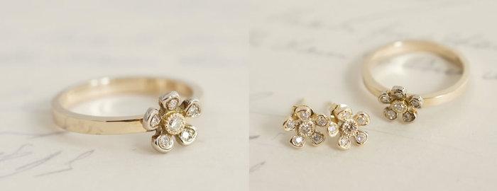 花芯と花弁にダイアモンドがセッティングされた、白い小さなお花から生まれた、可憐なリングです。花芯のダイアを、イエホワイトゴールドのトップにイエローゴールドのリングと、2色のコンビネーションも美しく際立っています。