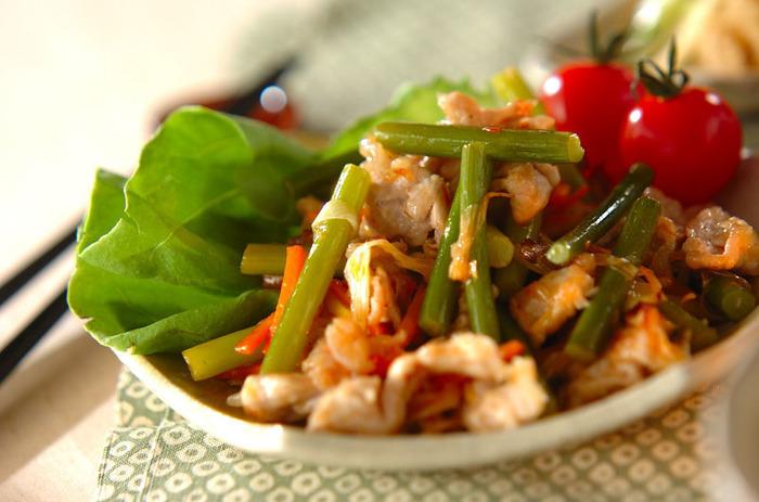 スタミナレシピの鉄板メニュー、豚肉とニンニクの芽のピリ辛炒めです。シャキシャキのニンニクの芽と、豆板醤の辛味が食欲を増進させます。