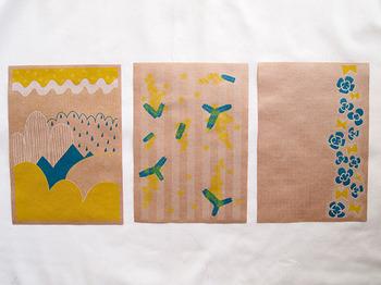 春をテーマにしたデザイン。 クラフト紙がデザインの色合いとマッチしています。 友達に少し長めの手紙が書きたくなるようなデザイン。