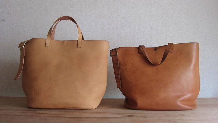 有機的なカタチをした2wayの鞄。革素材のわりには軽く、収納力もあります。 2WAYならではの使い勝手の良さも魅力の、長く愛用できる道具です。 写真の右側は一年ほど使用したもの。特に手入れなどはせず、自然とこの形になるそうです。