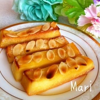 こちらはフランスの人気菓子、フロランタンを凍り豆腐で再現。外はカリっと中はモチっ。口の中でバターの風味が贅沢に広がる極上スイーツです。