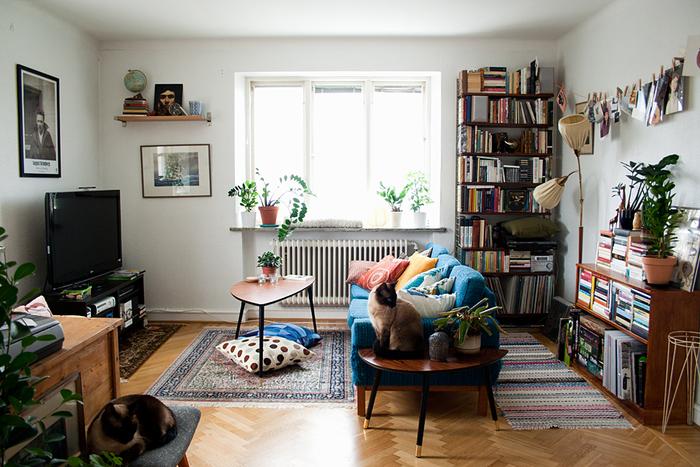 鮮やかなブルーのソファに、本場北欧テキスタイルのクッションが並ぶ、素敵なインテリアのお部屋です。猫ちゃんのポーズも決まっていますね!