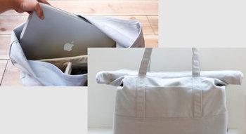 「ナドワ カンパーニュ」トートバッグ ノートパソコンも入るんです☆バッグの口はくるくると折りたためるので、見た目もかわいいです。