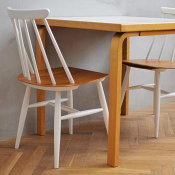 フィンランドのデザイナーIlmari Tapiovaara (イルマリ・タピオヴァーラ)のファネットチェアは、現在復刻されておらず、流通しているものはヴィンテージのみというとても希少価値が高いものです。「Chair Teak & 6Spokeチェア」は、ファネットチェアのリペアで得た技術を応用し、新しくパーツを制作し作られた椅子です。