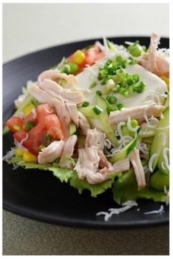 たっぷりのお野菜と鳥のむね肉でヘルシーに。鶏肉は茹でる前に料理酒をふっておくことで臭みを消せるようです。 さっぱりだけどボリューム満点の冷奴ですね。