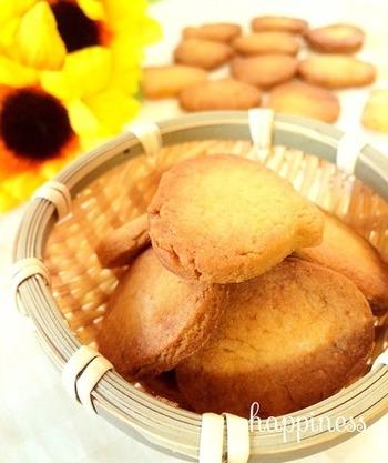 かぼちゃは甘みがあって、おやつにはぴったりの野菜です。こちらはバター不使用のヘルシークッキー!