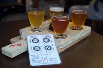 「ホワイトエール」「IPA」「ラガー」「谷中ビール」が少しずつ楽しめるテイスティングセットはビールに良く合うスモークナッツもついていてお得。