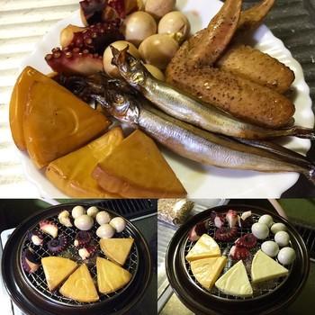 野菜や卵、お肉にお魚、チーズなど色々な食材で楽しめます。大きさは二段網のミニと小、三段網の大の三種類。