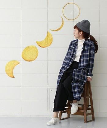 シャツワンピースは羽織ものとしても使えます。着るものに悩む秋、重宝しよう。