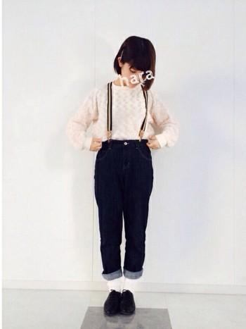 ラインのサスペンダーはファッションのアクセントになります。シンプルなファッションにプラスするだけでファッショニスタになれちゃいます。