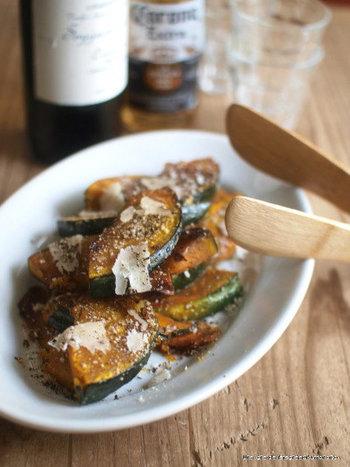 かぼちゃのパルミジャーノ・レッジャーノソテー。醤油が隠し味で、パルミジャーノチーズと良く合うんです。