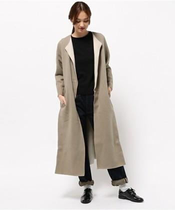ロングのコーディガンはかっこよく羽織ってメンズライクに着こなしたいですね。いつものローファーやパンプスを、おじ靴に変えるだけでメンズ仕様になるから不思議。