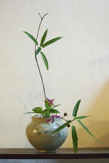 不定期で行われている、なげいれ教室。「なげいれ」とは、自然のままの風姿を保つように生ける生け花の手法のこと。