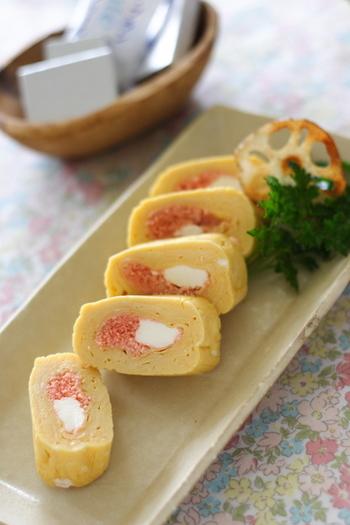 クリームチーズ(ボーテ・ブラン)を使った卵焼き。卵とチーズと明太子の組み合わせは、最強トリオですよね!来客時の、おもてなし料理としても活躍しそう!