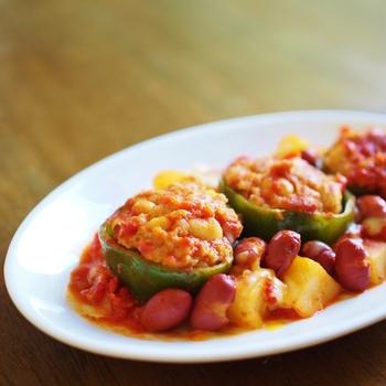 お豆&じゃがいものホクホク感にトマトの酸味、それにひき肉の旨味が食欲をそそり、苦手なピーマンもおいしく食べられますよ☆
