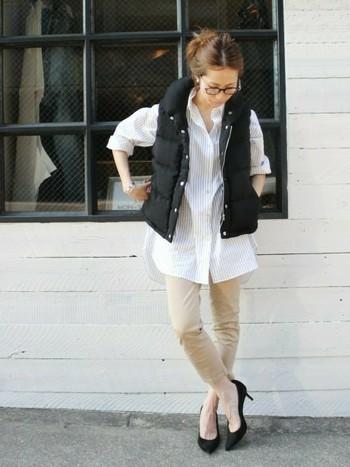 軽くて暖かくて、可愛い♪ 人気の「ダウンベスト」コーディネート、街での素敵な着こなし方♪